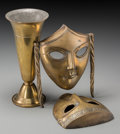 Decorative Arts, Continental, A Gorham Brass Vase with a Pair of Art Deco Brass Drama Wall Masks,first half 20th century. Marks to vase: GORHAM CO, (...(Total: 2 Items)