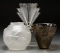 Art Glass:Other , Three Art Deco Art Glass Vases, 20th century. Marks: (variousmarks). 6-3/4 inches high (17.1 cm) (tallest). ...