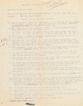 """Books:Manuscripts, Ernest Hemingway. Typed Lease Contract. Cortina [Italy]: 14 Octobre1948. Typed by Hemingway's landlord (Aprile [spelled """"Ap..."""