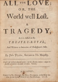 Books:Literature Pre-1900, John Dryden. All for Love... London: 1678. First edition ofDryden's adaptation of Shakespeare's Antony and Cleopa...