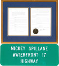"Books:Furniture & Accessories, [Mickey Spillane]. 2011 South Carolina Senate Resolution 821Renaming a Portion of U.S. Highway 17 the ""Mickey SpillaneWaterf... (Total: 2 Items)"