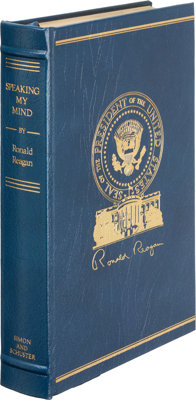 Ronald Reagan. Speaking My Mind. New York: Simon and Schuster, [1989]. First edition, limited t