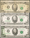 Error Notes:Error Group Lots, Offset Error Fr. 2073-B $20 1981 Federal Reserve Note. Choice AboutUncirculated; Cutting Error Fr. 2076-C $20 1988A Federal R...(Total: 3 notes)