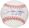 "Autographs:Baseballs, Pete Rose ""4256"" Single Signed Baseball. ..."