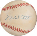 Baseball Collectibles:Balls, 1940's Mel Ott Signed Baseball....