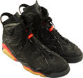 Basketball Collectibles:Others, 1991 Michael Jordan NBA Finals Game Worn & Signed Sneakers,MEARS Authentic....