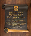 Football Collectibles:Others, 1967 NFL Most Valuable Player Award Presented to Joe Morrison by the Utica Touchdown Club - From Morrison Estate. ...