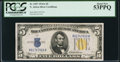 Small Size:World War II Emergency Notes, Fr. 2307 $5 1934A North Africa Silver Certificate. PCGS About New 53PPQ.. ...