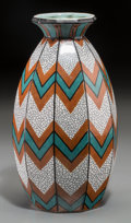 Ceramics & Porcelain, Continental:Other , A Sarreguemines Art Deco Glazed Earthenware Vase, Sarreguemines,France, circa 1925. Marks: FAYENCERIES, SARREGUEMINES, DECO...