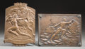 Decorative Arts, French, Two Patinated Bronze Plaques: Athena & Pegasus, ManSurmounting Obstacles, first half 20th century. Marks:(various)... (Total: 2 Items)