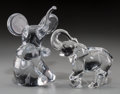 Art Glass:Daum, Two Daum and Baccarat Clear Glass Elephants, late 20th century.Marks: (various marks). 8-3/4 inches high (22.2 cm) (taller)...(Total: 2 Items)