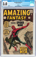 Silver Age (1956-1969):Superhero, Amazing Fantasy #15 UK Edition (Marvel, 1962) CGC GD/VG 3.0Off-white to white pages....