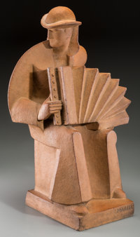 Jan and Joel Martel (French, 1896-1966) L'Accordioniste, circa 1930 Terracota 24 inches (61.0 cm)