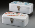 Decorative Arts, Continental, Two Spritzdekor Bauhaus Enameled Metal Bread Boxes, circa 1930.6-3/4 h x 15-3/4 w x 8-1/2 d inches (17.1 x 40.0 x 21.6 cm)...(Total: 2 Items)