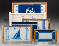 Decorative Arts, Continental, Six Art Deco Reverse-Painted Glass Trays with Nautical Motifs, 20thcentury. 10-7/8 x 17-5/8 inches (27.6 x 44.8 cm) (larges... (Total:6 Items)