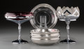Decorative Arts, Continental, A Modernist Dorothy Thorpe Stand with Silver Overlay Bowls with TwoChrome and Glass Compotes, 20th century. 14-1/2 inches h... (Total:8 Items)