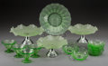 Decorative Arts, Continental:Other , A Fourteen-Piece Frosted and Clear Glass Dessert Service, firsthalf 20th century. 4-1/4 inches high x 9-1/2 inches diameter...(Total: 14 Items)