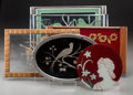 Paintings, Four Art Deco Reverse-Painted and Acid-Etched Glass Tray with Two Reverse-Painted Glass Panels, first half 20th century. 10-... (Total: 6 Items)