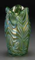 Art Glass:Loetz, An Austrian Iridescent Green Feather-Pulled Vase with Ruffled Rim,early 20th century. 9-1/4 inches high (23.5 cm). ...