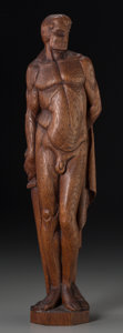 Decorative Arts, French, An Art Deco Carved Oak Figure: Nude Spartan, first half 20thcentury. Marks: R. Ballet. 19-5/8 inches high (49.8 cm). ...