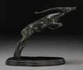 Bronze:American, American School (20th Century). Gazelle. Bronze withblackish-green patina. 15 inches (38.1 cm) long . ...