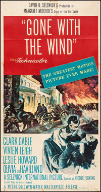 """Gone with the Wind (MGM, R-1954). Three Sheet (41"""" X 78.5""""). Academy Award Winners"""