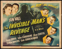"The Invisible Man's Revenge (Universal, 1944). Half Sheet (22"" X 28""). Horror"