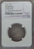 Bust Quarters, 1822 25C -- Corrosion -- NGC Details. AG. Ex: ANA Money Museum. And a 1831 25C -- Obv Damage -- NGC Details. VG. E... (Total: 2 coins)