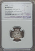 Seated Dimes, 1852-O 10C -- Damaged, Cleaned -- NGC Details. VF. and a 1877-CC 10C -- Damaged --NGC Details. VF.... (Total: 2 coins)