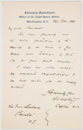 Autographs:Military Figures, Winfield Scott Schley Letter to President Grover Cleveland....
