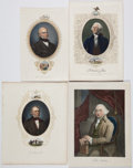 Miscellaneous:Ephemera, Group Lot of Hand-Colored Engravings of Presidents....
