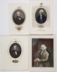 Group Lot of Hand-Colored Engravings of Presidents