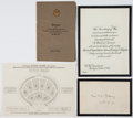 Militaria, Memorial Services for an Unknown Soldier Invitation, Program, andGuide Chart. ... (Total: 3 Items)
