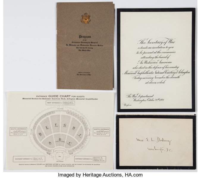 memorial services for an unknown soldier invitation program lot