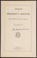 Autographs:U.S. Presidents, Herbert Hoover: Signed Speech as President....