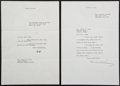 Autographs:U.S. Presidents, Herbert Hoover: Typed Letters Signed.... (Total: 2 Items)