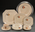 Ceramics & Porcelain, American:Modern  (1900 1949)  , A Twenty-Eight Piece Leigh Potters Leigh Ware MayfairPattern Art Deco Ceramic Partial Service, Alliance, Ohio, ...(Total: 28 Items)