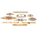 Estate Jewelry:Brooches - Pins, Diamond, Synthetic Sapphire, Glass, Seed Pearl, Enamel, Gold Brooches. . ... (Total: 10 Items)