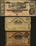 """Confederate Notes:1864 Issues, T68 $10 1864 VF;. Albany, NY- Corporation of the City of Albany 10¢ Genuine; 10¢ Modern """"Parchment"""" Copy Nov. 24, 1862; ... (Total: 3 notes)"""