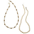 Estate Jewelry:Necklaces, Cultured Pearl, Gold Necklaces . . ... (Total: 2 Items)