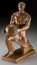 Sculpture, Abram Belskie (American, 1901-2001). Atlas. Bronze with golden brown patina. 13 inches (33.0 cm) high. Inscribed on base...