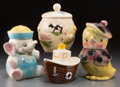 Ceramics & Porcelain, American, Four Ceramic Cookie Jars: Tug Boat, Elephant, Duck, Farm Animals, 20th century. 11-5/8 inches high (29.5 cm) (tallest). ... (Total: 4 Items)