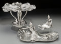 Decorative Arts, French, A Group of Three Achille Gamba Art Nouveau Pewter Trays andCenterpiece, early 20th century. Marks: (various marks). 8-1/8 i...(Total: 3 Items)
