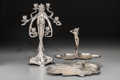 Decorative Arts, French, A Group of Three Art Nouveau Silvered Bronze and Metal TableArticles, circa 1915. 17-3/8 inches high (44.1 cm) (tallest). ...(Total: 3 Items)