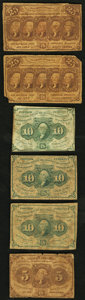 Fractional Currency:First Issue, First Issue 5¢, 10¢ (3), 25¢ (2) Good or Better.. ... (Total: 6 notes)