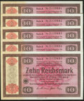 World Currency: , Germany Konversionskasse 10 Reichsmark 28.8.1933 Five Consecutive Examples Pick 208.. ... (Total: 5 notes)