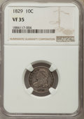 Bust Dimes, 1829 10C VF35 NGC. PCGS Population: (2/2). Mintage 770,000....