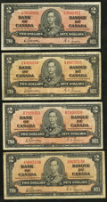 Canadian Currency: , BC-22b $2 1937 Four Examples. ... (Total: 4 notes)