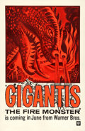 "Movie Posters:Science Fiction, Gigantis the Fire Monster (Warner Brothers, 1959). First US Release One Sheet (27"" X 41"") Advance. Science Fiction. Original..."