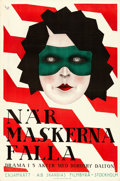 "Movie Posters:Drama, Behind Masks (Skandias Filmbyra, 1921). Swedish One Sheet (23.5"" X 35.5"").. ..."
